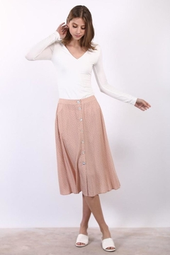 Compendium boutique Pink Polka Dot Midi Skirt W/ Pockets - Product List Image