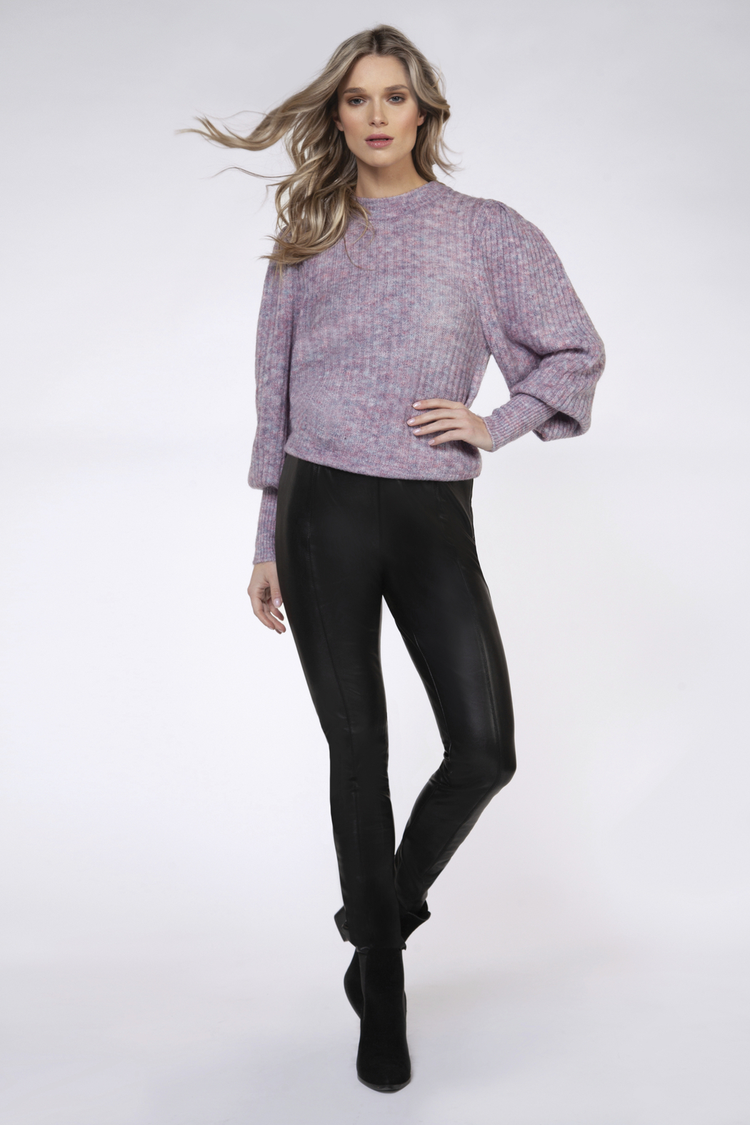 Black Tape/Dex Confetti Balloon Slv Sweater - Front Cropped Image