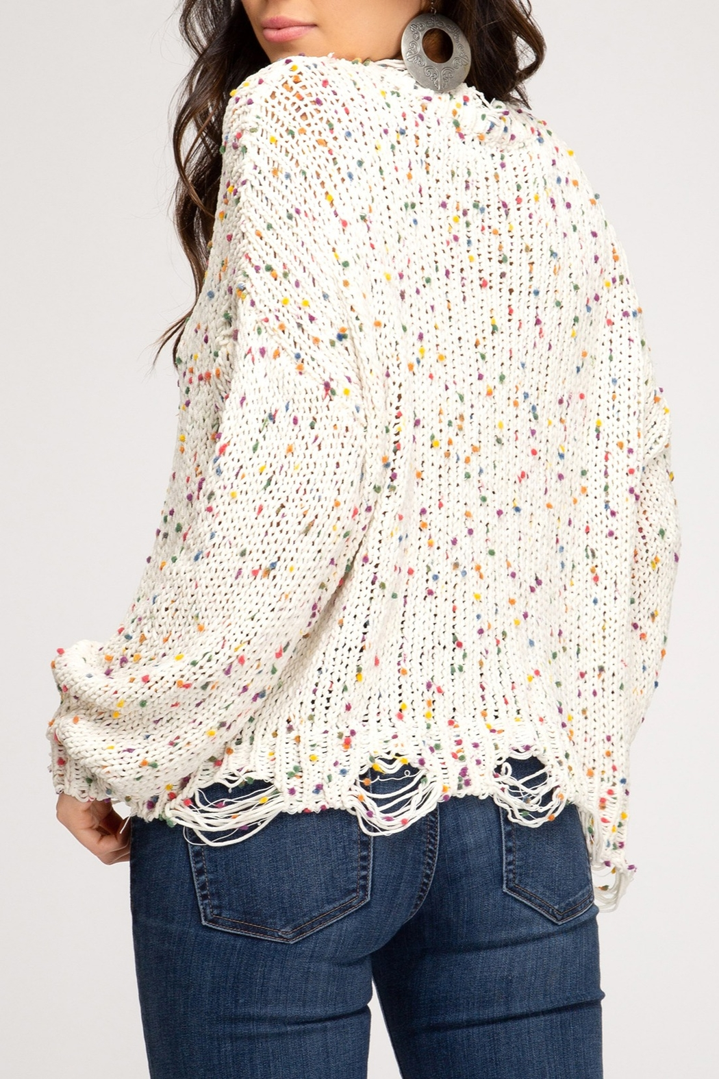 She + Sky Confetti Distressed Sweater - Front Full Image