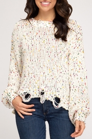 She + Sky Confetti Distressed Sweater - Front cropped