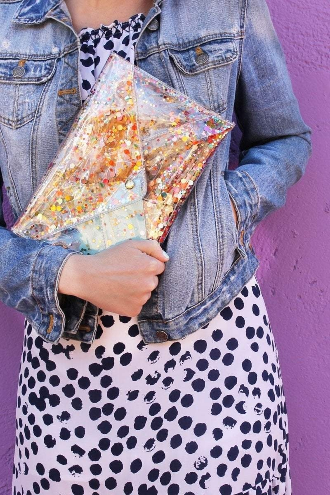 Packed Party Confetti Envelope Clutch - Side Cropped Image