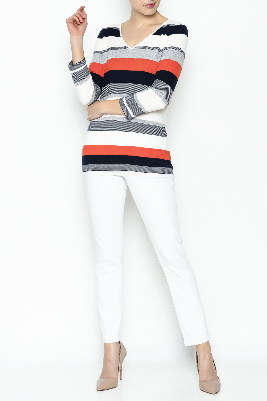 Conrad C Navy Stripes Sweater - Side Cropped Image