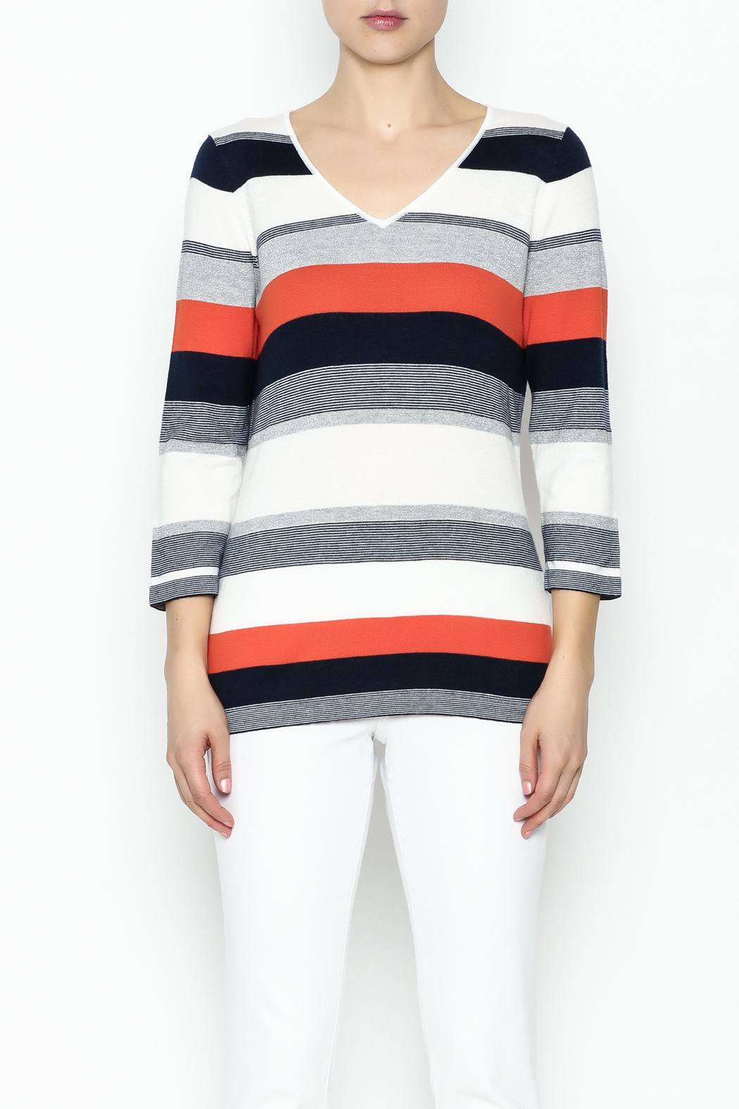 Conrad C Navy Stripes Sweater - Front Full Image