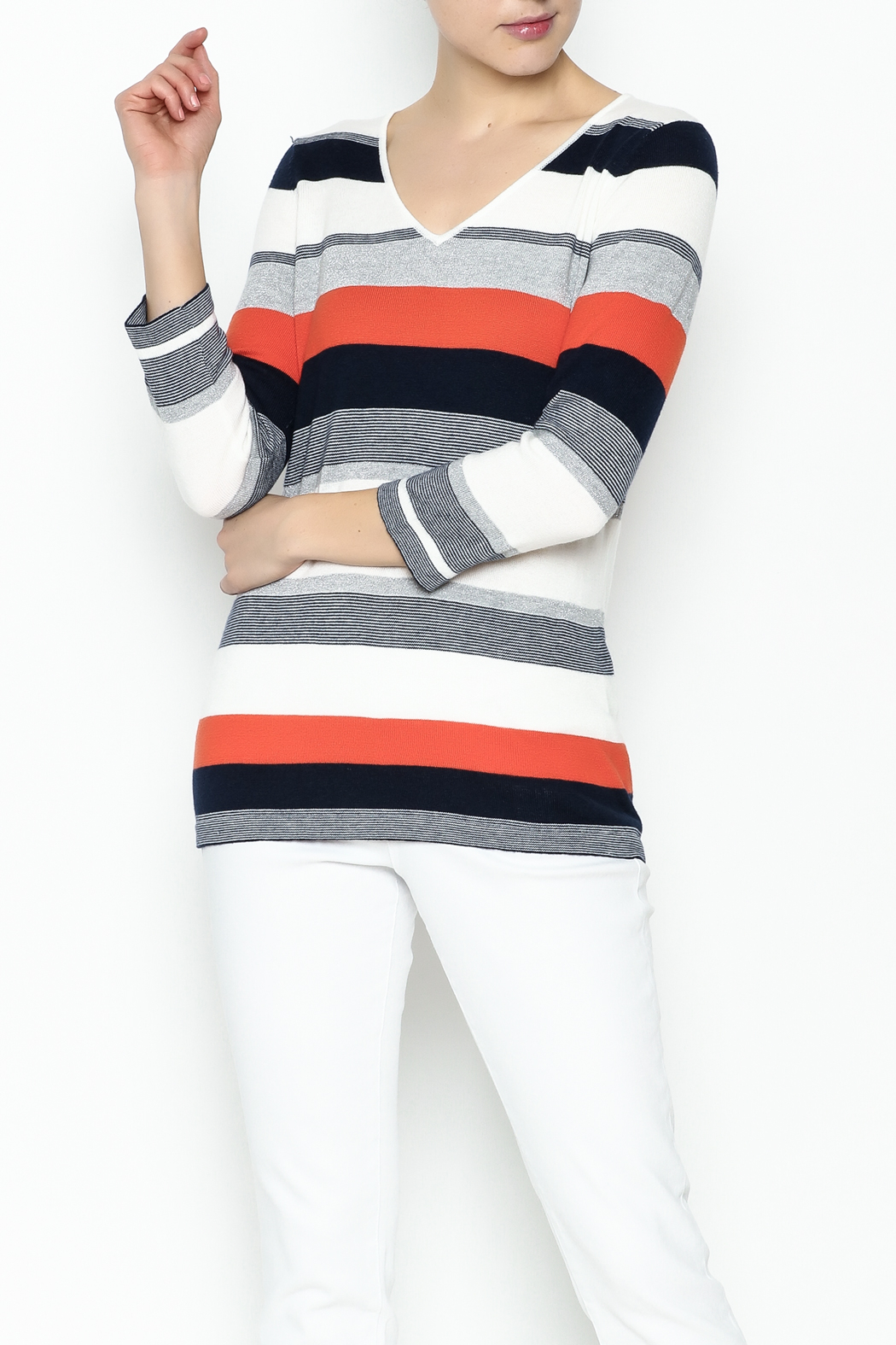 Conrad C Navy Stripes Sweater - Main Image