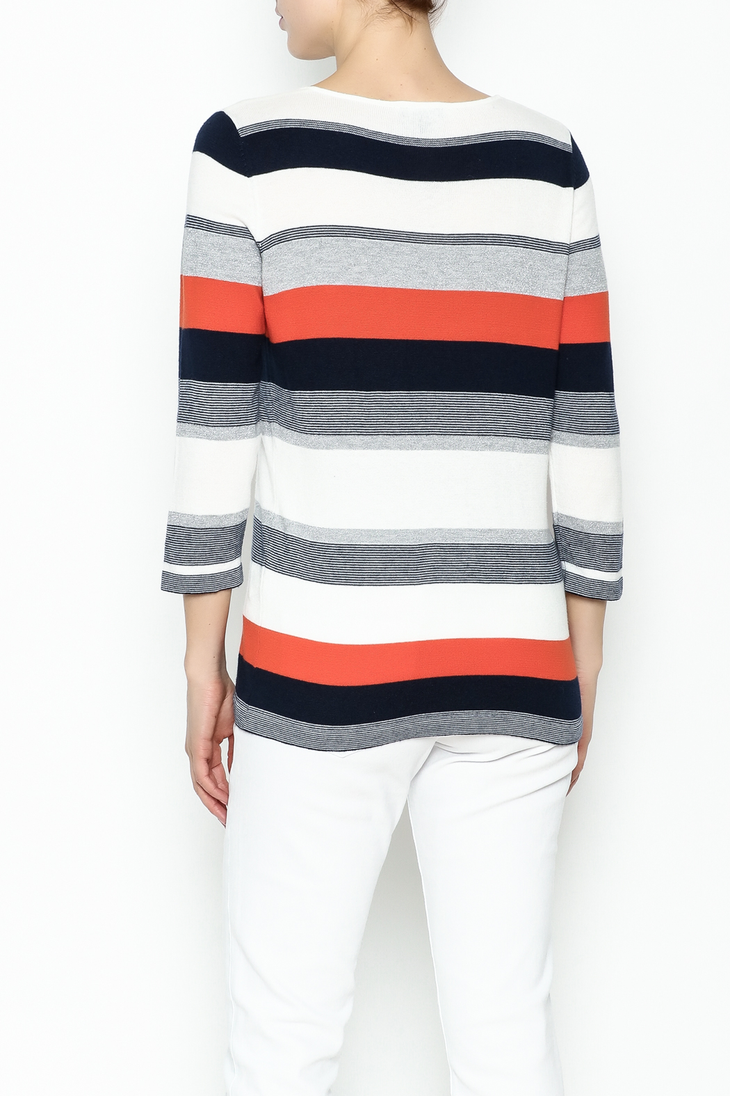 Conrad C Navy Stripes Sweater - Back Cropped Image