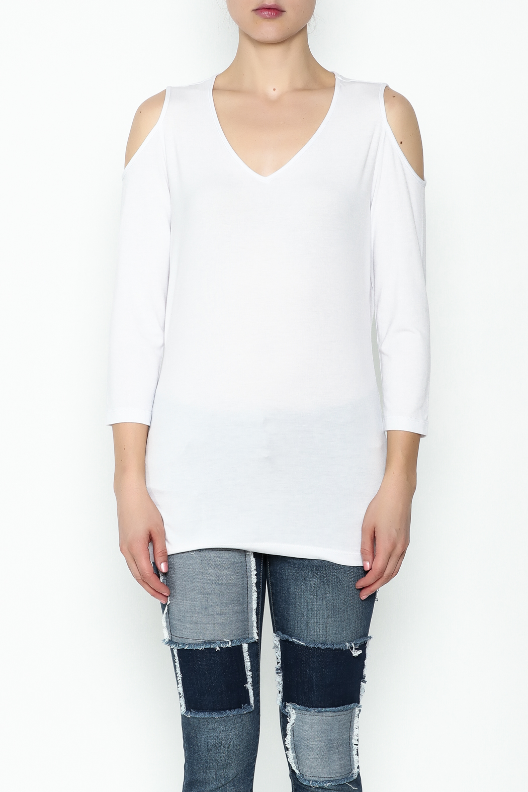 Conrad C White Cold Shoulder Top - Front Full Image