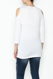 Conrad C White Cold Shoulder Top - Back cropped