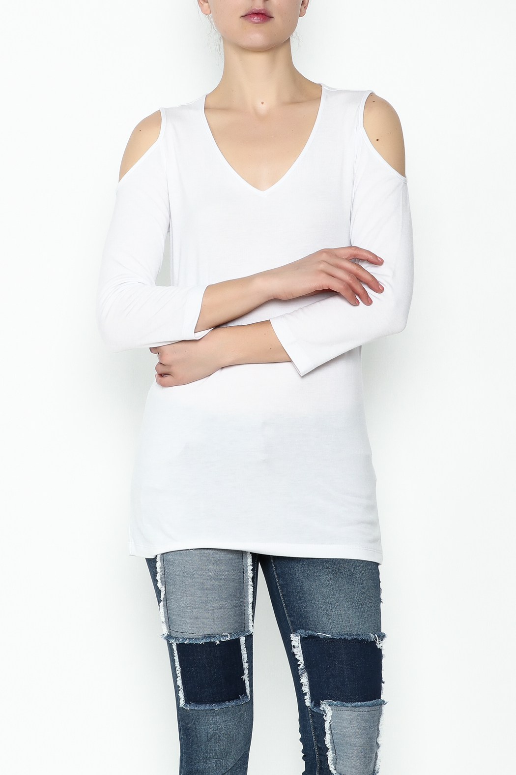 Conrad C White Cold Shoulder Top - Front Cropped Image