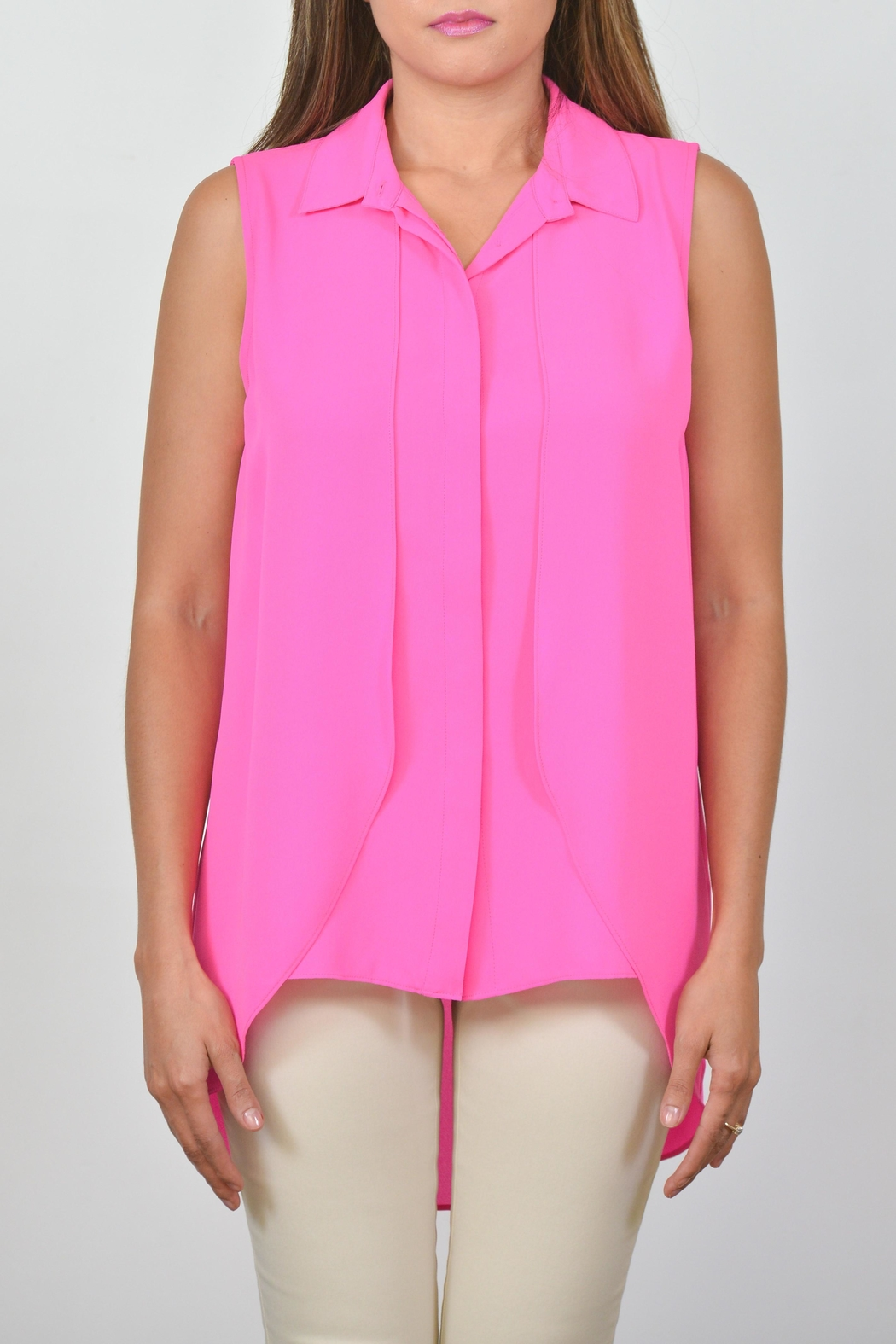 Conrad C Collar Georgette Tank - Front Cropped Image