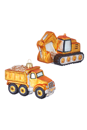 RAZ Imports Construction Vehicle Glass Ornament - Front cropped