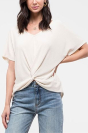 Blu Pepper Contrast Back Tie Knit Top - Front cropped