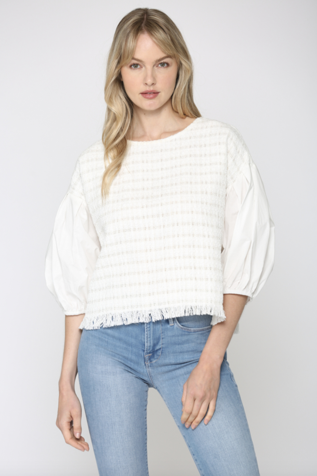 FATE by LFD Contrast Balloon Sleeve Tweed Blouse - Main Image