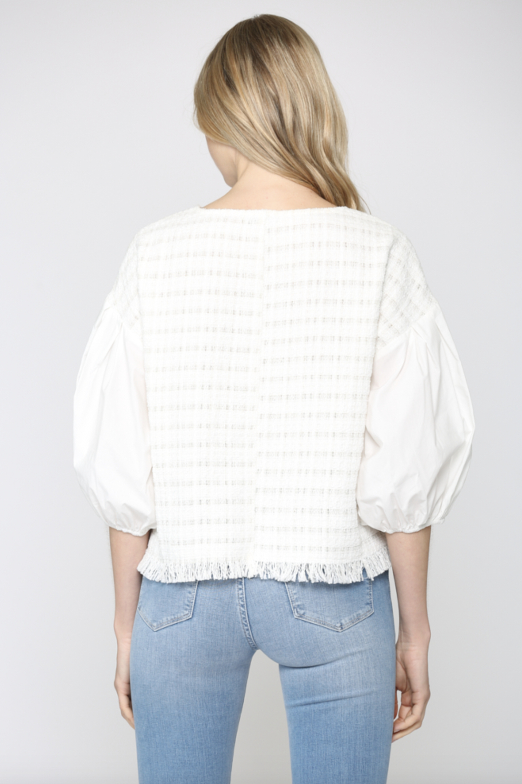 FATE by LFD Contrast Balloon Sleeve Tweed Blouse - Side Cropped Image