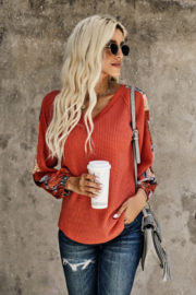 Shiying Fashion Contrast Eyelet Thermal Knit top - Product Mini Image