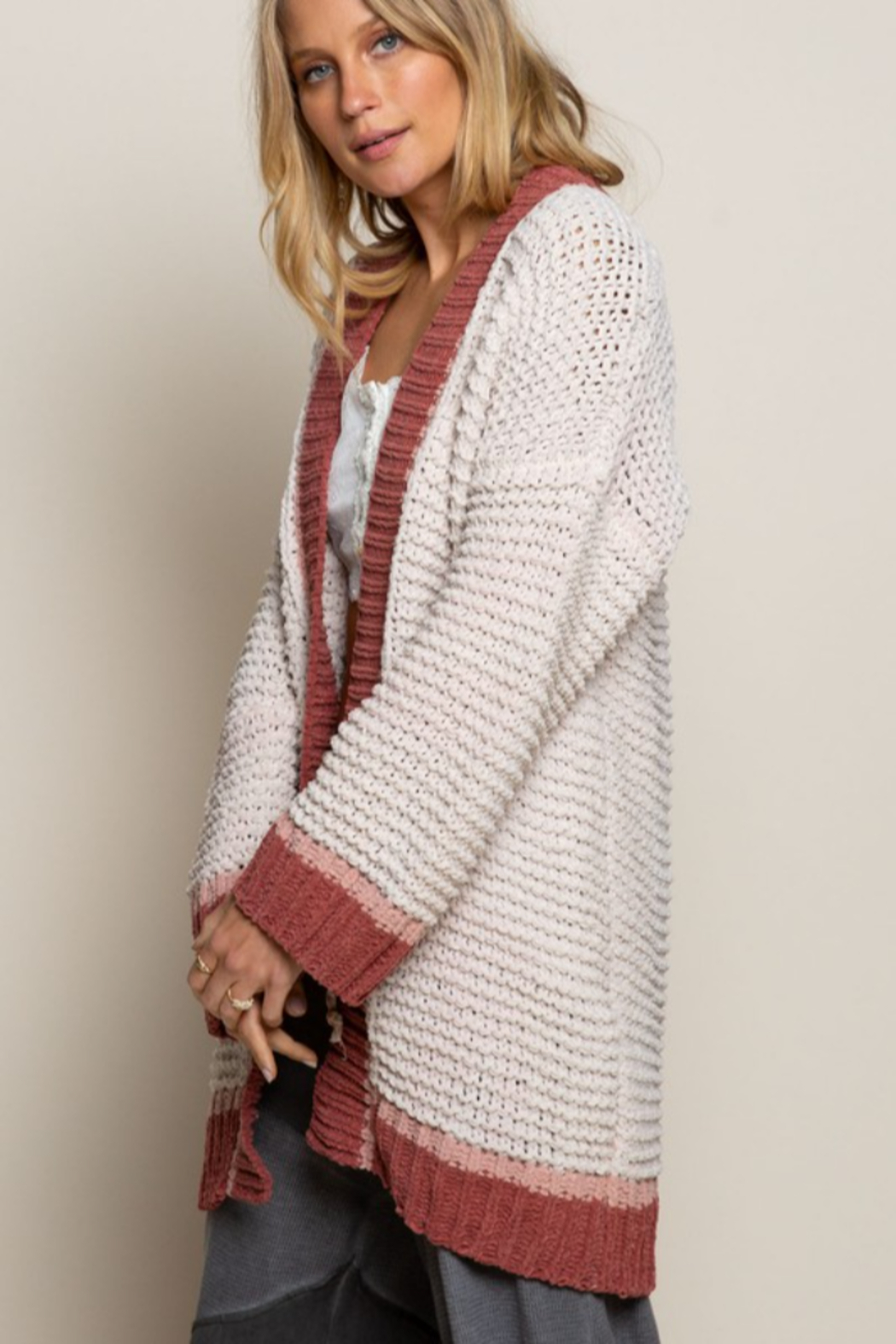 POL Contrast Knit Cardigan - Front Full Image