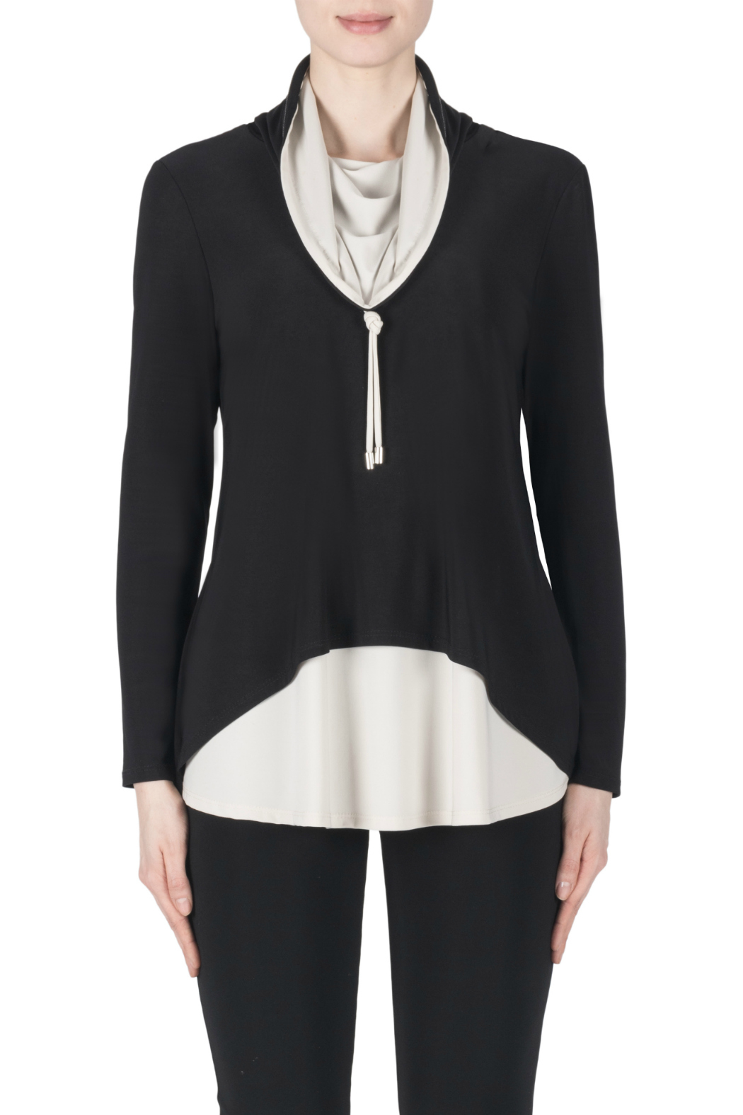 Joseph Ribkoff Contrast Layered Cowl Neck Tunic - Front Cropped Image