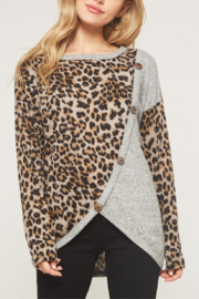 Promesa USA Contrast Leopard Print Top - Product Mini Image
