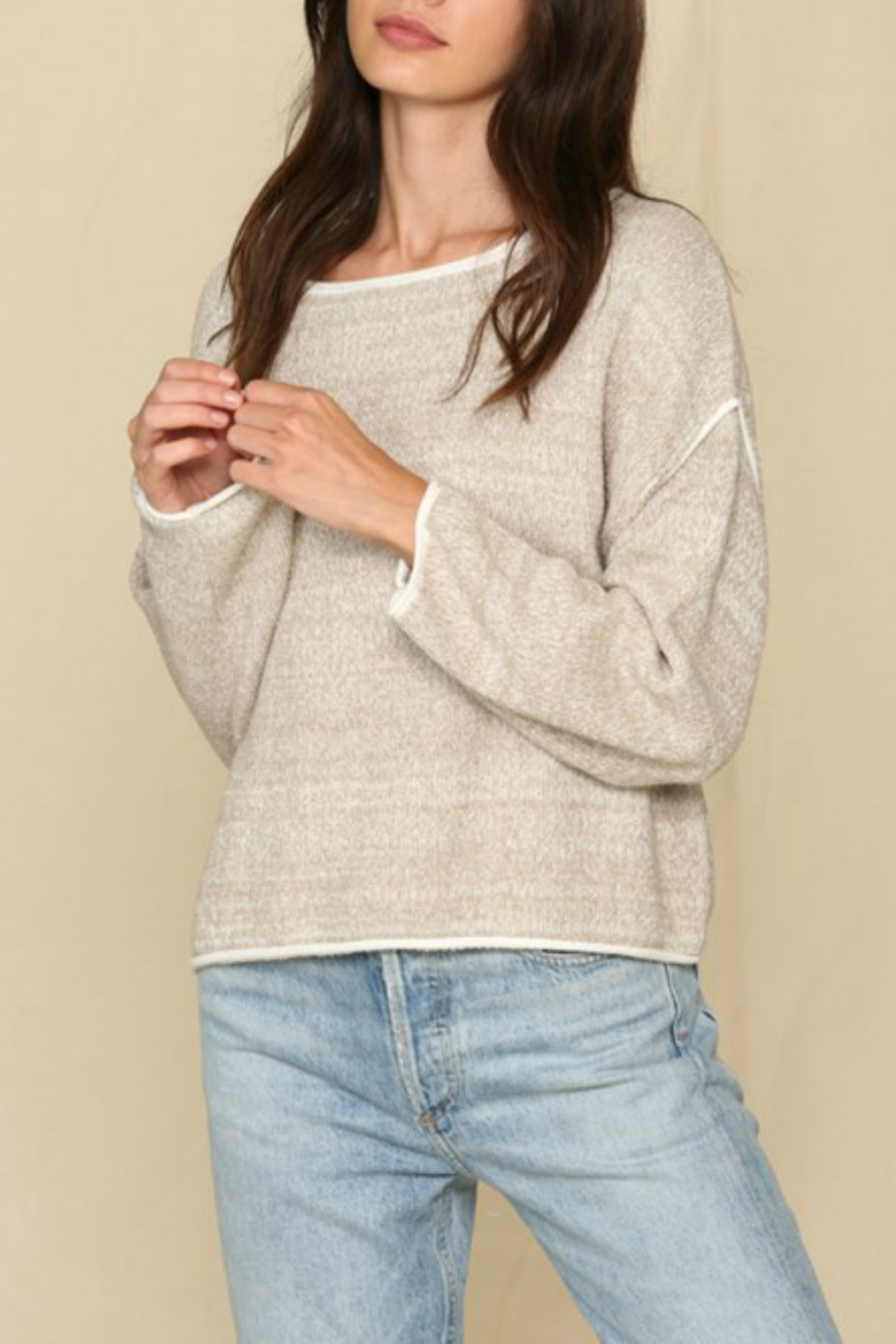 By Together  Contrast Lined Sweater Top - Main Image