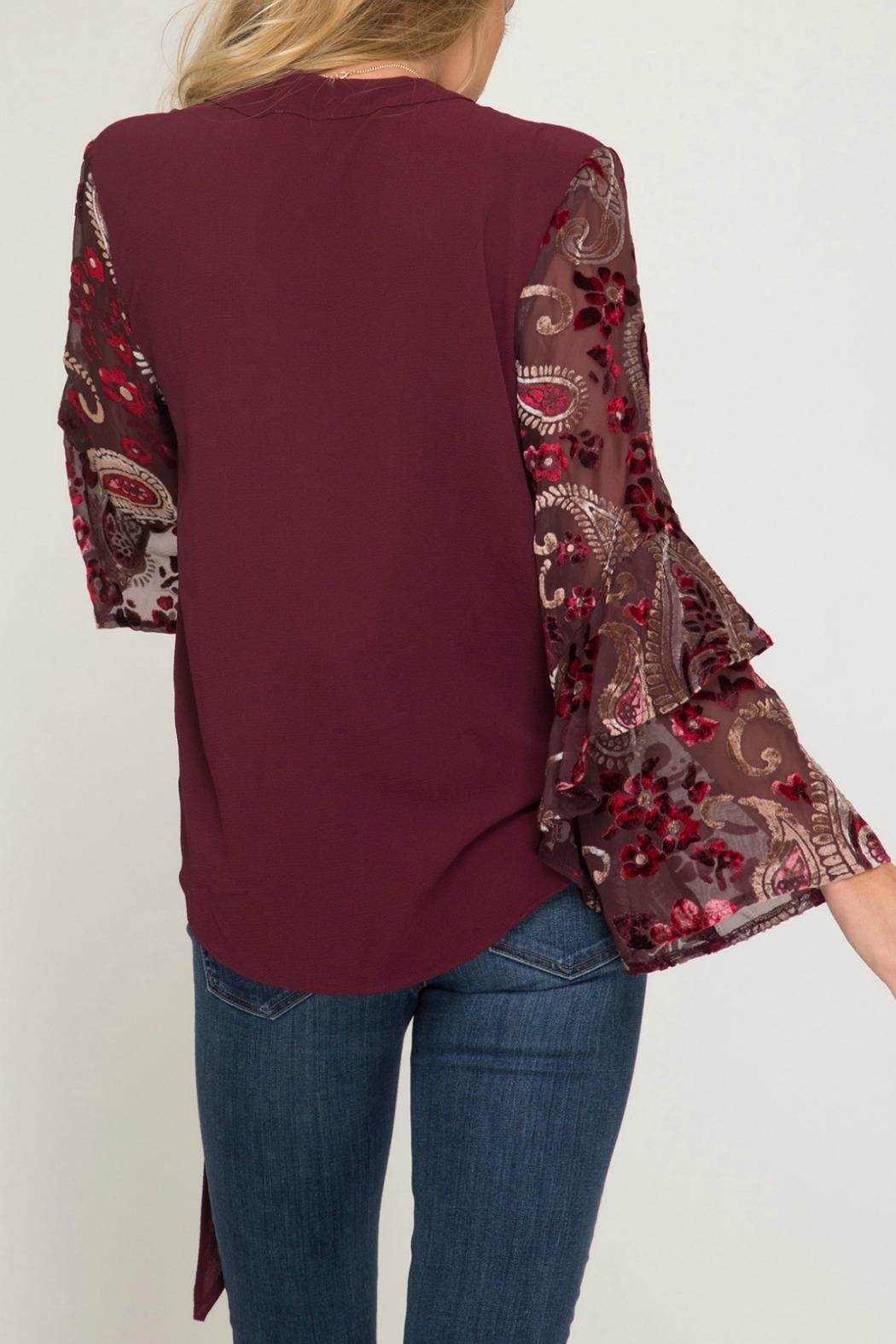 She & Sky  Contrast Long Sleeve Surplice Woven Top with Side Tie - Front Full Image