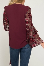 She & Sky  Contrast Long Sleeve Surplice Woven Top with Side Tie - Front full body