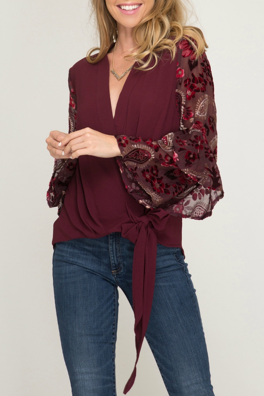 She & Sky  Contrast Long Sleeve Surplice Woven Top with Side Tie - Main Image