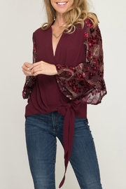 She & Sky  Contrast Long Sleeve Surplice Woven Top with Side Tie - Front cropped