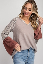 143 Story Contrast Neck Flare Sleeve Top - Product Mini Image