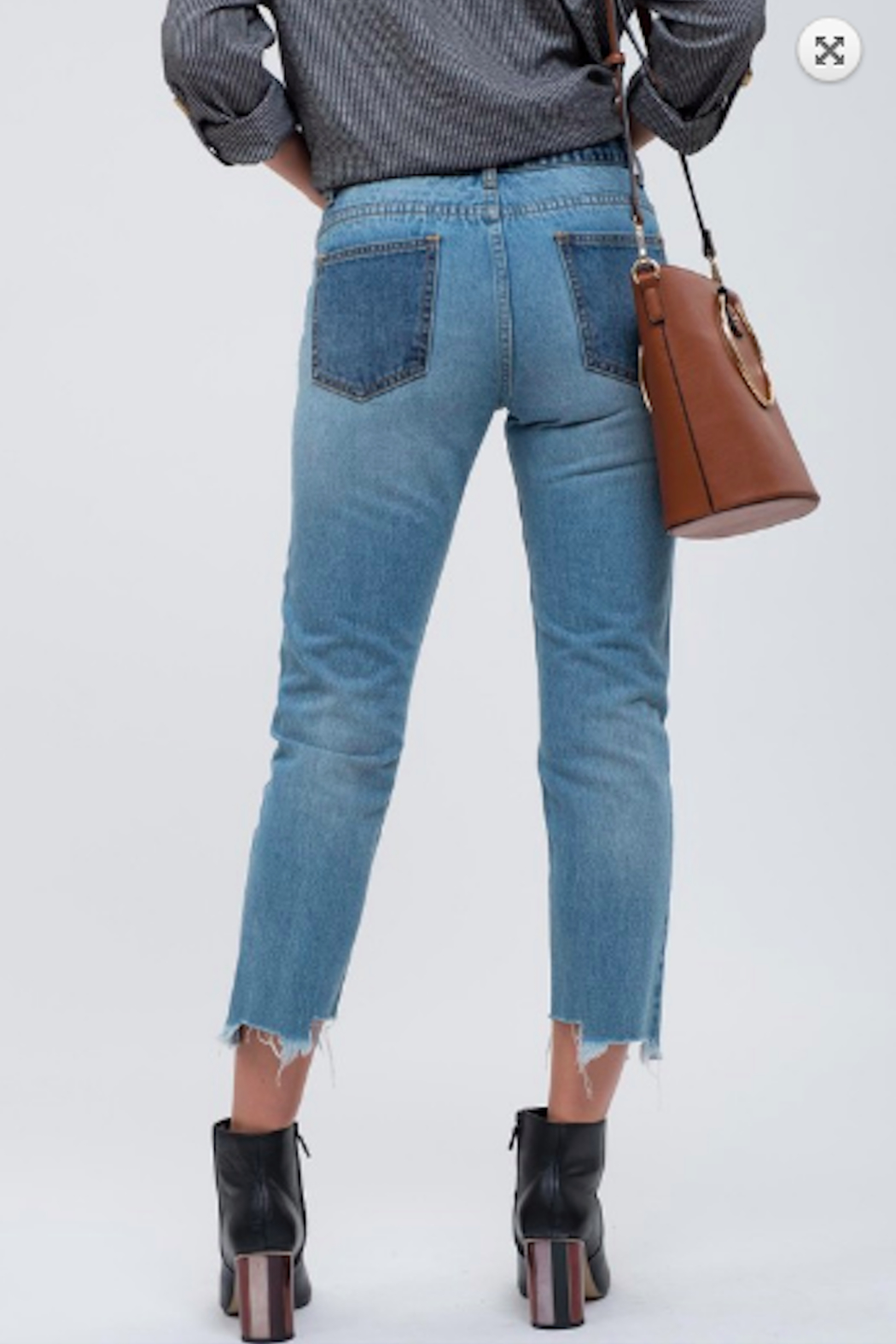 Blu Pepper Contrast Panel Seam Jeans - Front Full Image