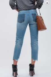 Blu Pepper Contrast Panel Seam Jeans - Front full body