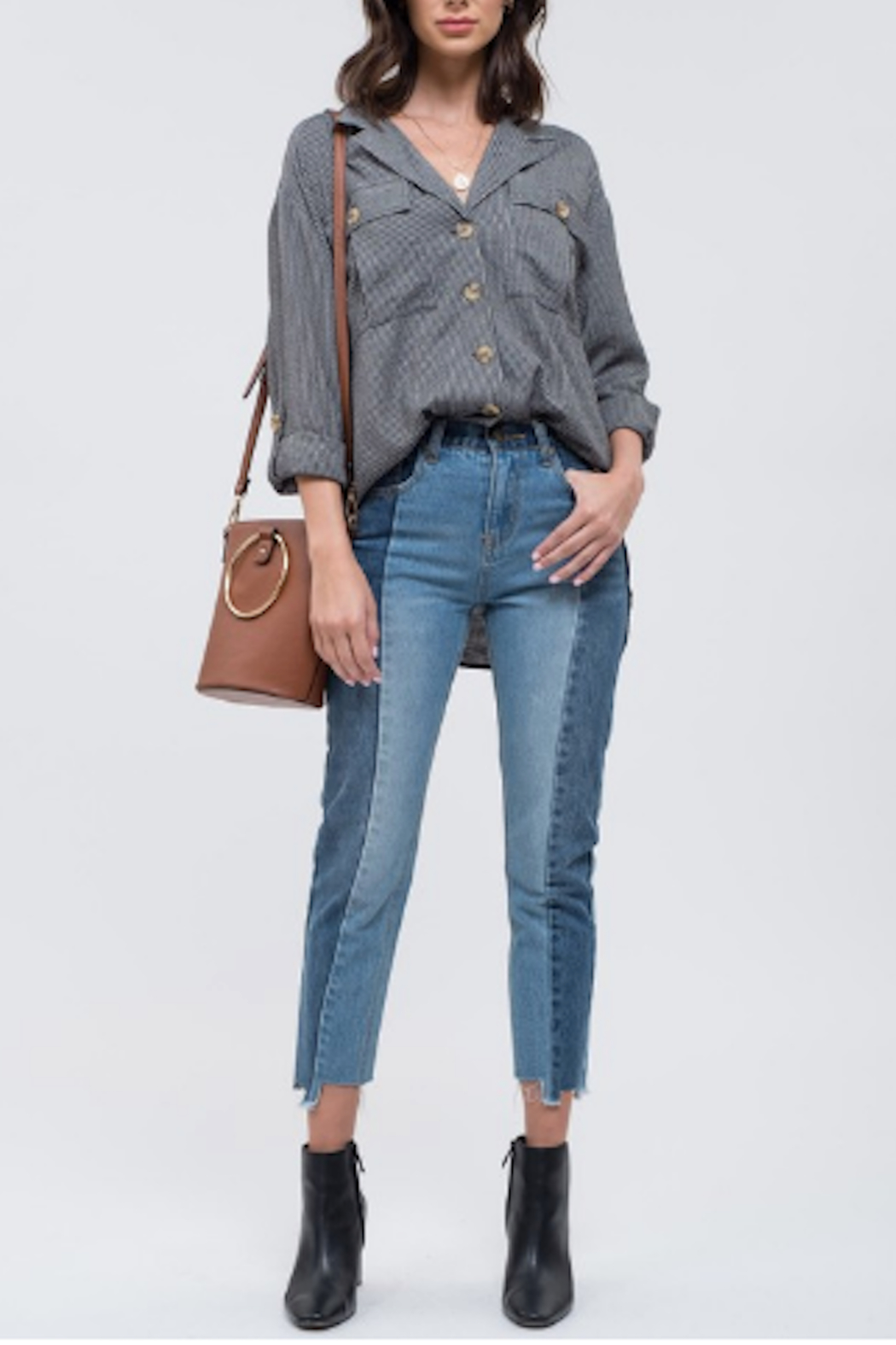 Blu Pepper Contrast Panel Seam Jeans - Front Cropped Image