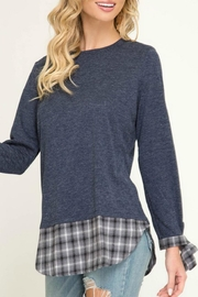 She + Sky Contrast Plaid Pullover - Product Mini Image