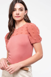 Mine and E&M Contrast Pom-Pom Sleeve Top - Front cropped