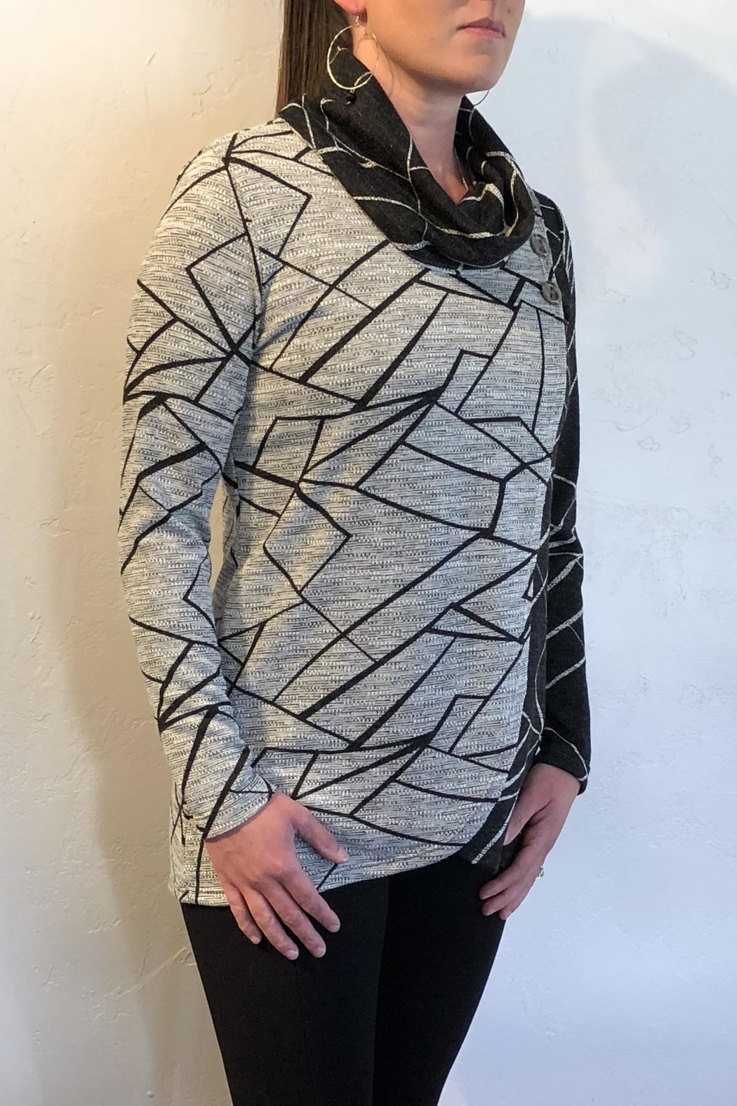 Crystal Contrast Print Sweater - Front Full Image