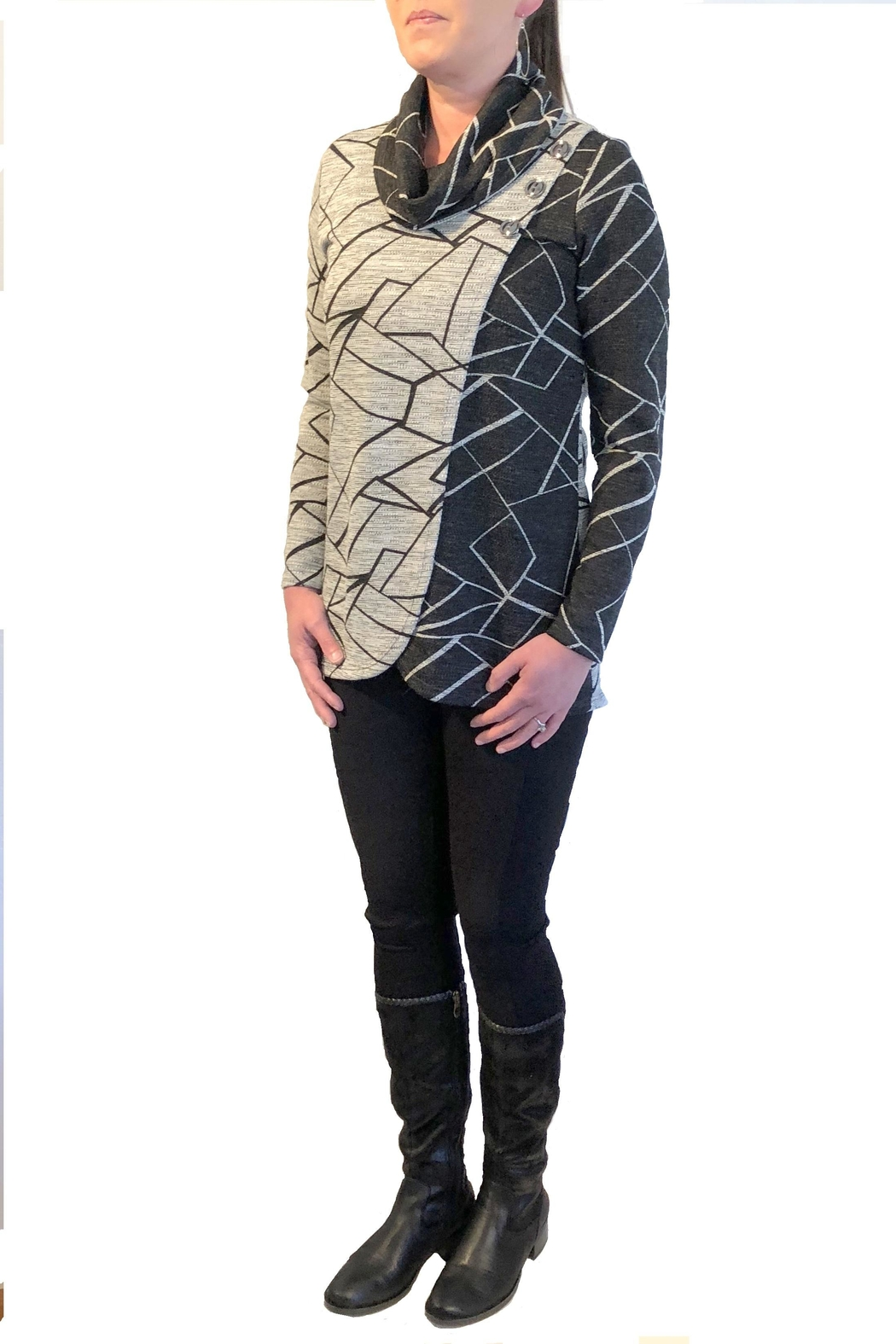Crystal Contrast Print Sweater - Main Image