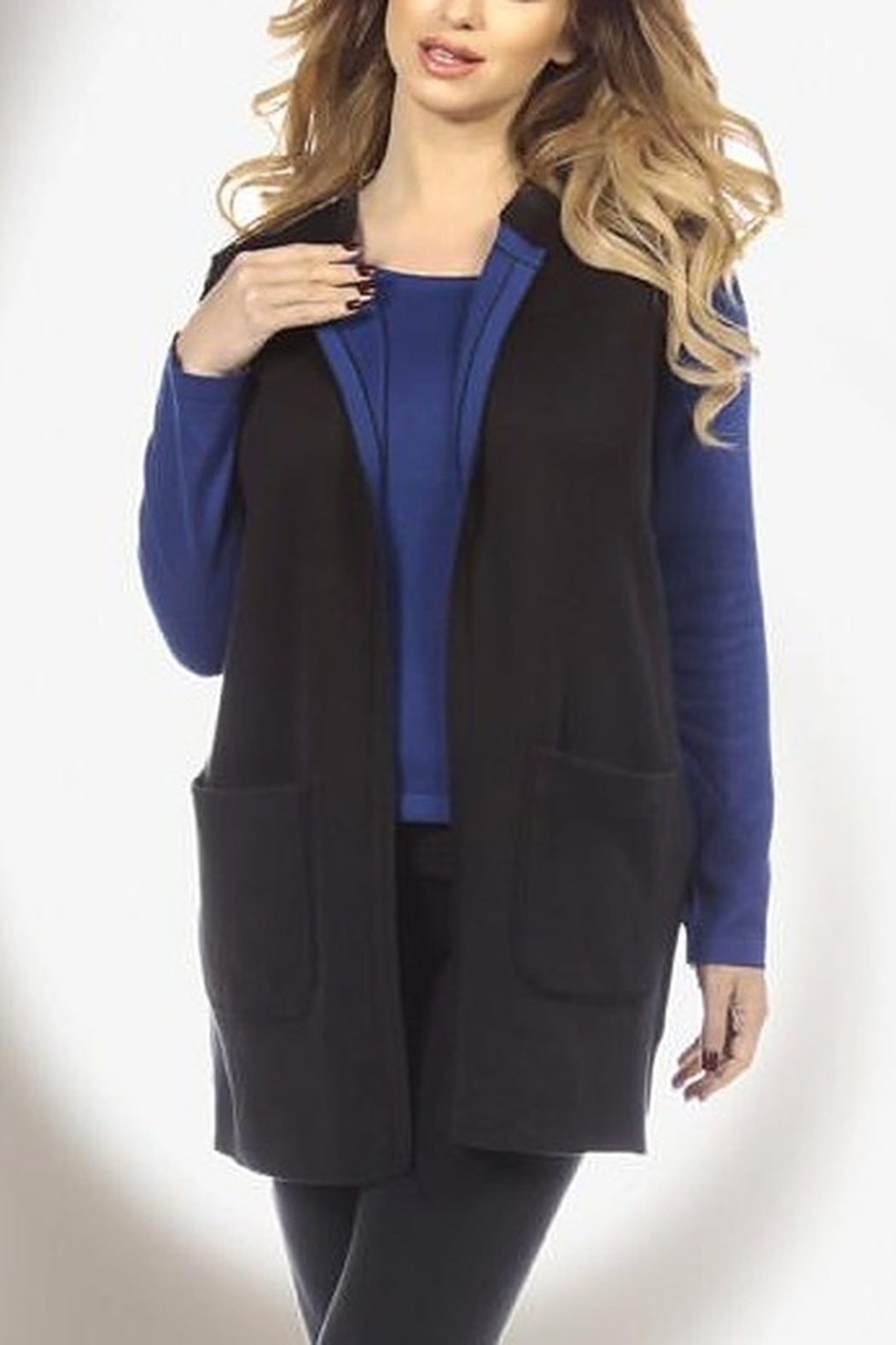 Angel Apparel Contrast Reversible Long Vest - Main Image