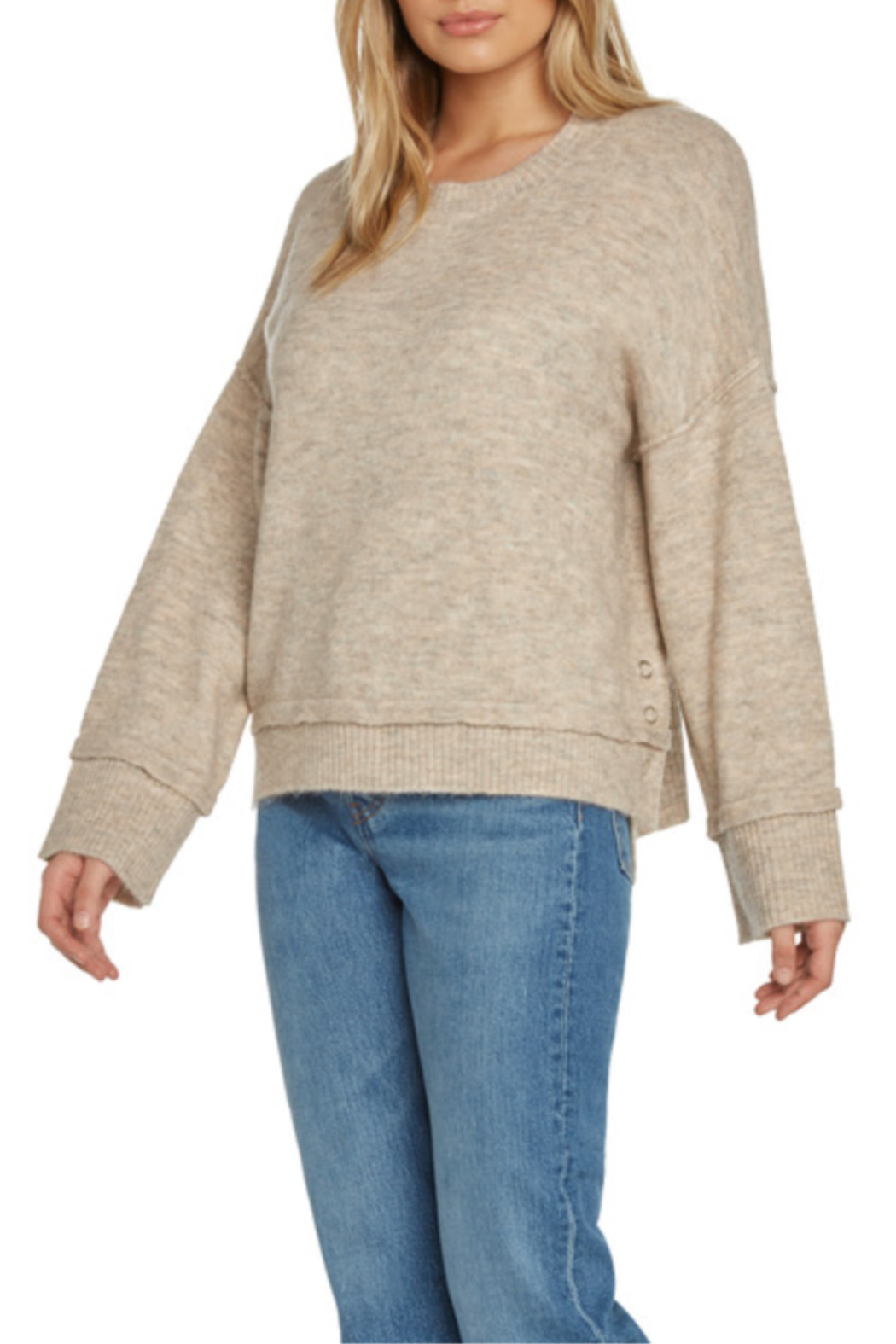 Willow & Clay Contrast Rib Soft Knit Sweater w Side Snaps - Main Image