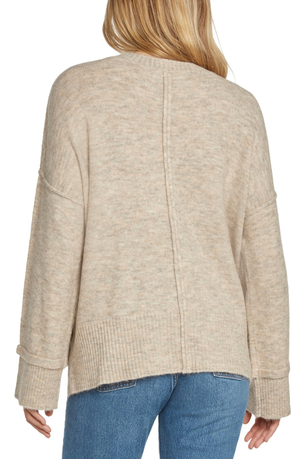 Willow & Clay Contrast Rib Soft Knit Sweater w Side Snaps - Front Full Image