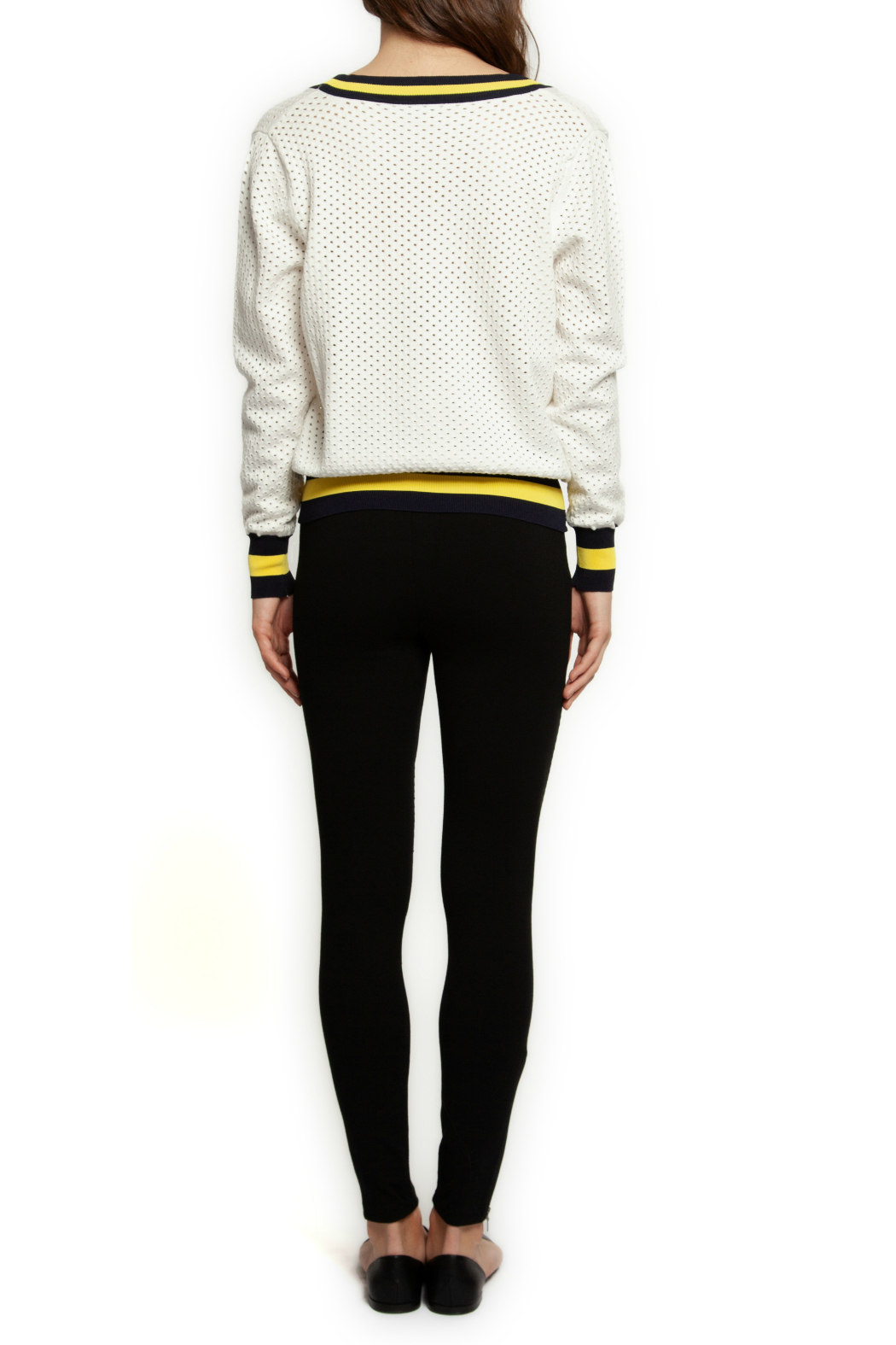 Dex Contrast Rib V Neck Sweater - Front Full Image