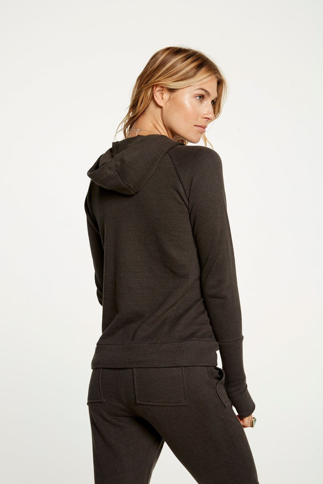 Chaser Contrast Rose Gold Zipper Hoodie - Side Cropped Image