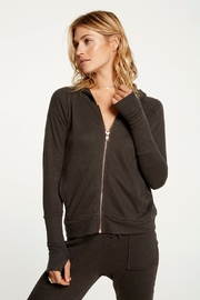 Chaser Contrast Rose Gold Zipper Hoodie - Front cropped