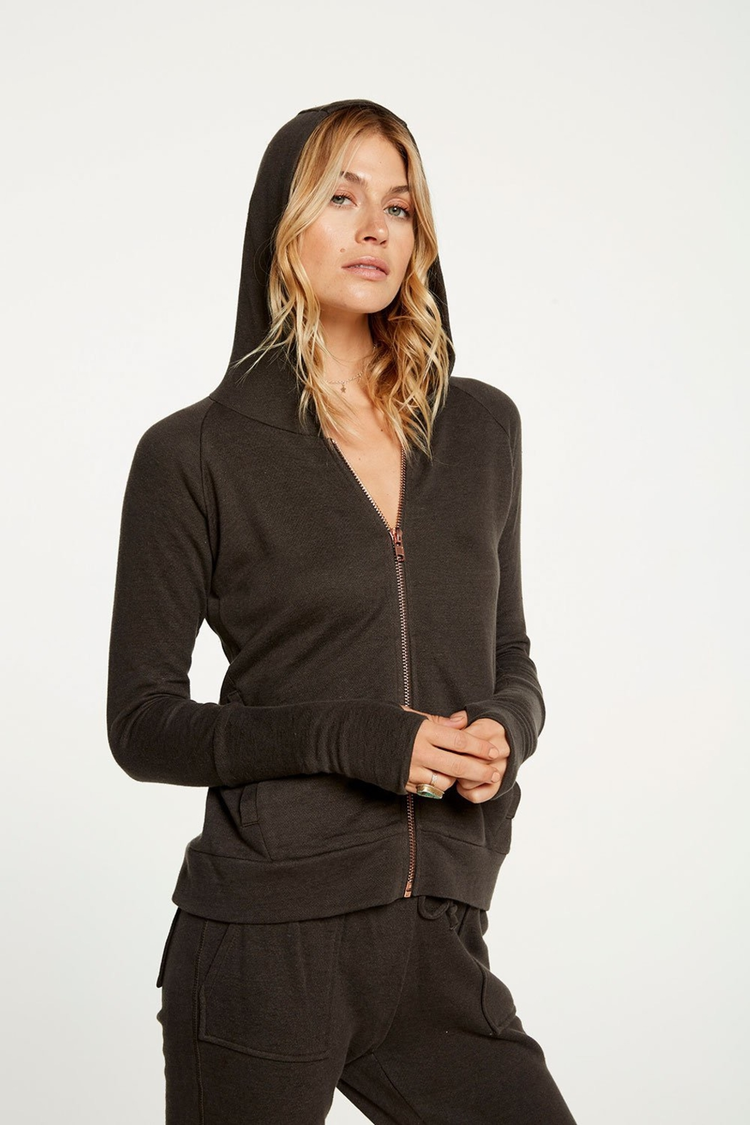Chaser Contrast Rose Gold Zipper Hoodie - Back Cropped Image