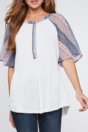 LLove USA Contrast Sleeve Henley - Front cropped