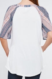 LLove USA Contrast Sleeve Henley - Front full body