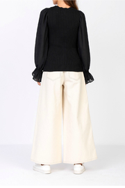 Current Air Contrast sleeve sweater - Front full body