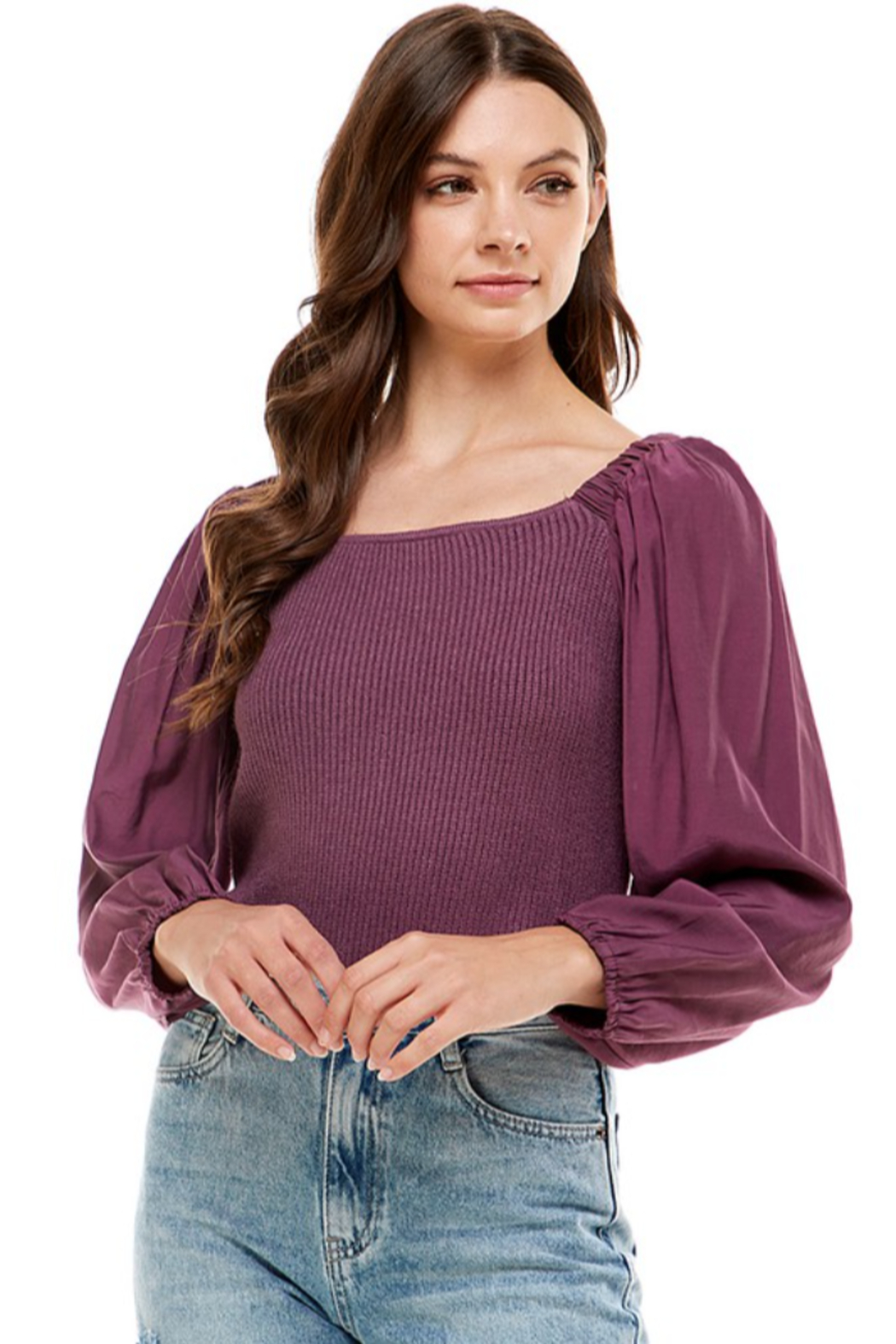 On Twelfth Contrast Sleeve Sweater - Front Cropped Image