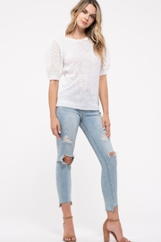 blu Pepper  Contrast Sleeve Sweater Top - Front cropped