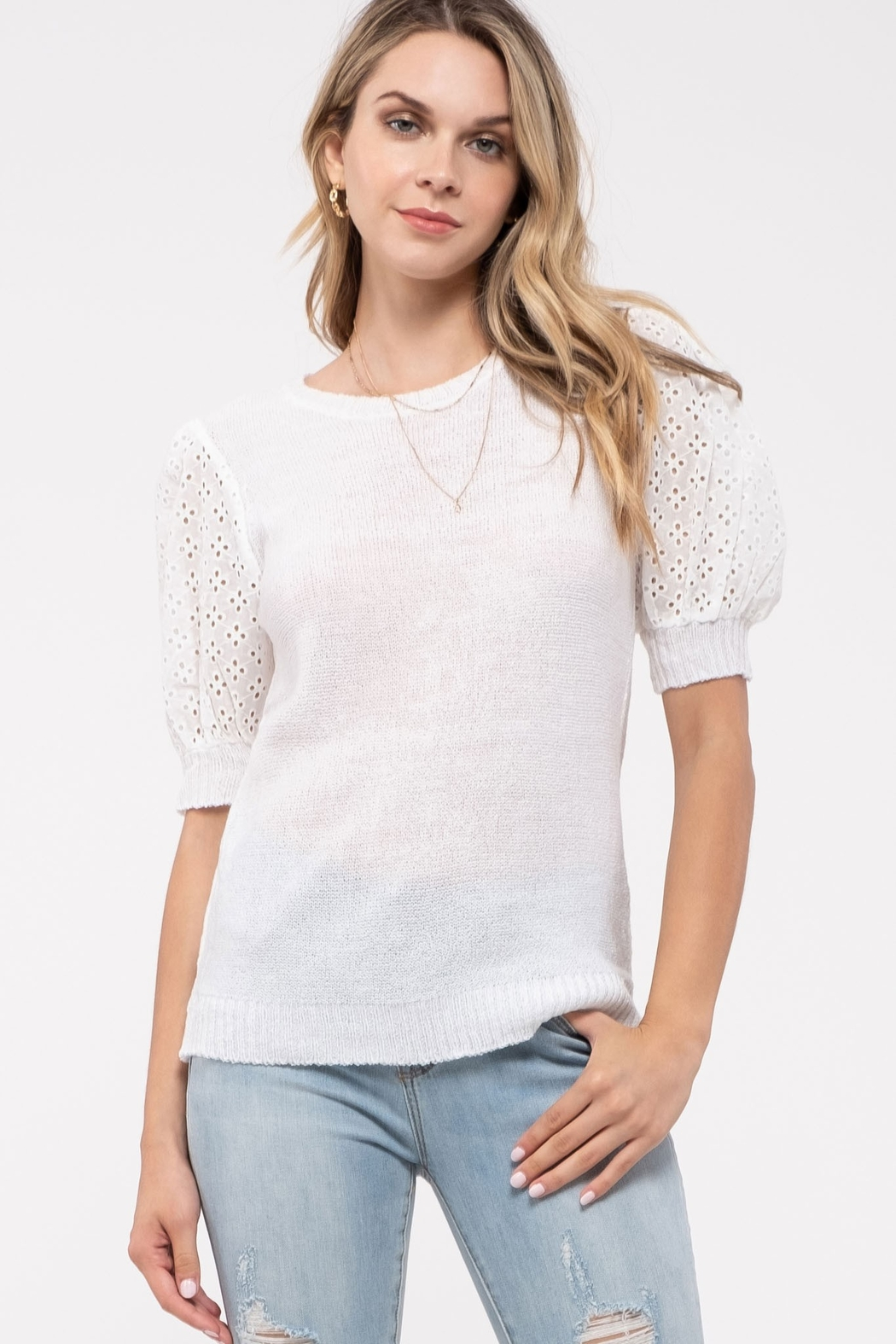 blu Pepper  Contrast Sleeve Sweater Top - Front Full Image