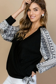 She + Sky Contrast Sleeve Tie-Front - Product Mini Image