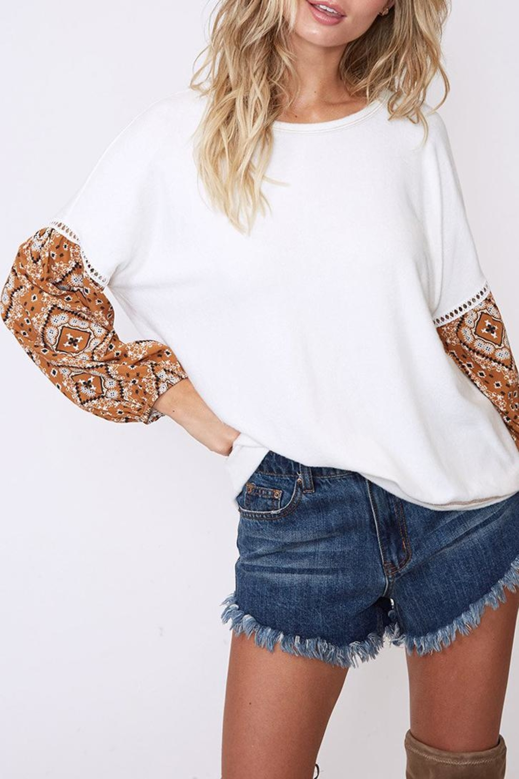 Peach Love California Contrast Sleeve Top - Front Full Image