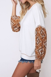 Peach Love California Contrast Sleeve Top - Side cropped